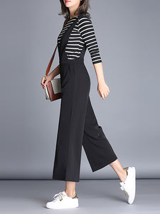 Black Daily Plunging neck Solid Casual Summer Jumpsuit