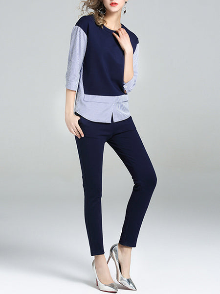 Navy Blue Crew Neck 3/4 Sleeve Paneled Two Piece Outfits