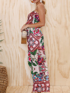 Strapless Holiday Printed Tribal Jumpsuit
