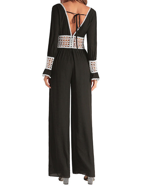 Chiffon Crochet-trimmed Eyelet Sexy Jumpsuit