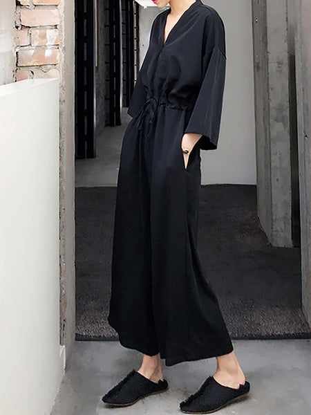 Elegant Surplice Neck Gathered Jumpsuit
