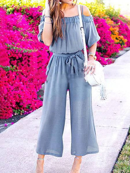 Holiday Solid Half Sleeve Shift Gathered Jumpsuit