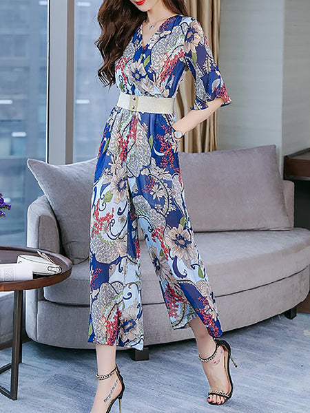 Surplice Neck Jumpsuit Casual Chiffon Ruffled Floral Jumpsuit
