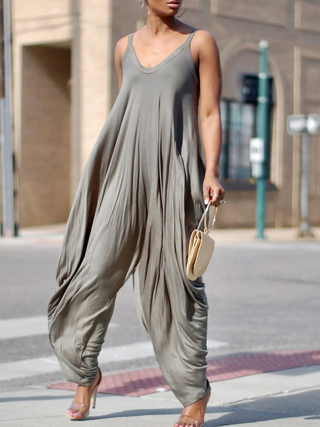 Holiday Loose Spaghetti Draped Solid Jumpsuit