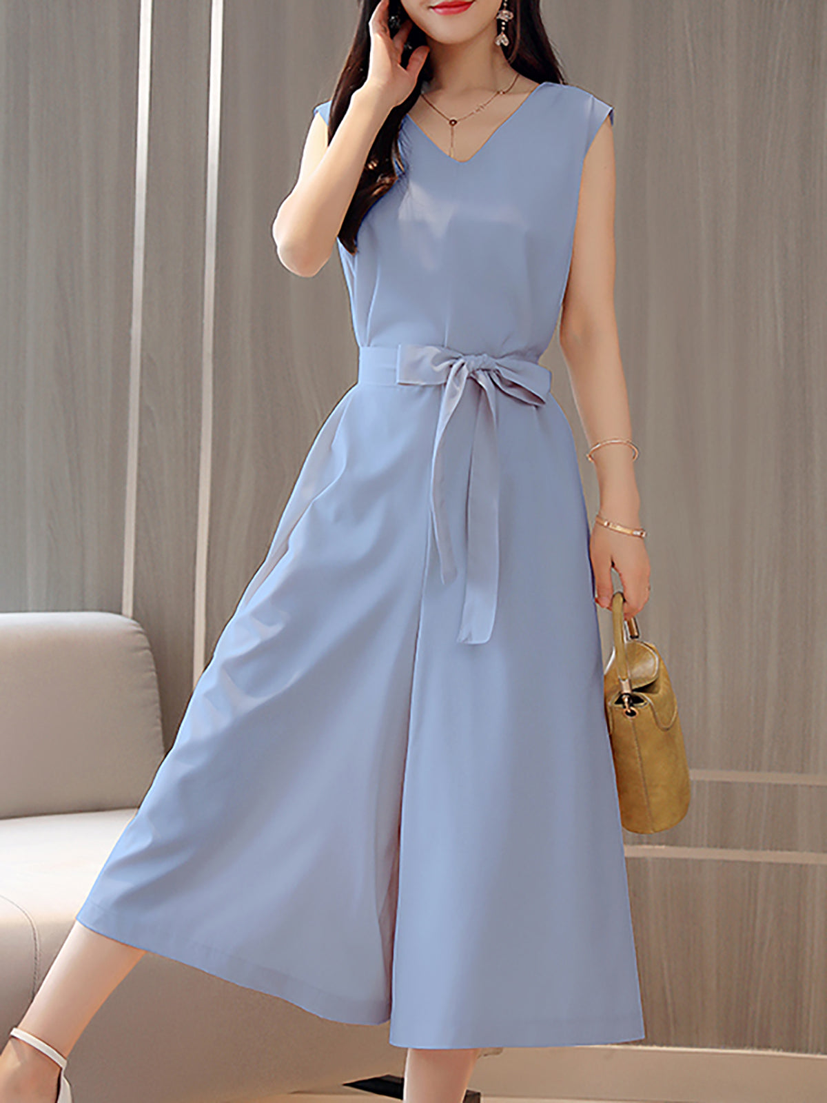 Bow V neck Sleeveless Elegant A-line Solid Jumpsuit