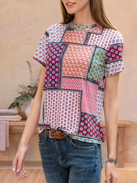Women Short Sleeve Ethnic Tribal Floral-Print Tee