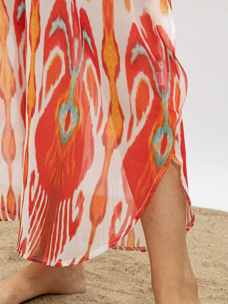 Women V Neck Sunshine Printed Summer Beach Dresses