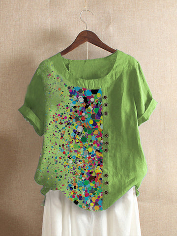 Green Casual Polka Dots Cotton-Blend Shirts & Tops
