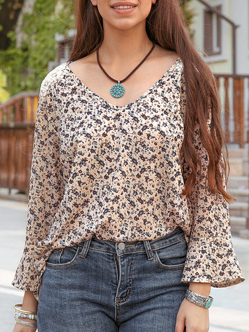Women Knitted Pastoral Flower Top
