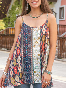 Women Holiday Printed Tribal Top