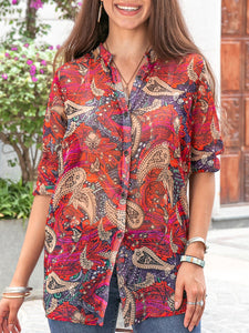 Women Floral-Print Abstract Long Sleeve Shirts & Tops