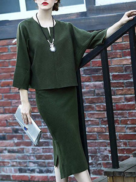 Green Elegant Sheath Top With Skirt Set