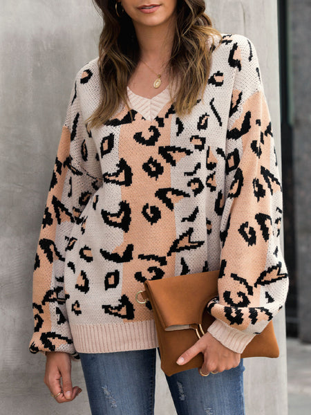 V Neck Shift Leopard Print Long Sleeve Sweater