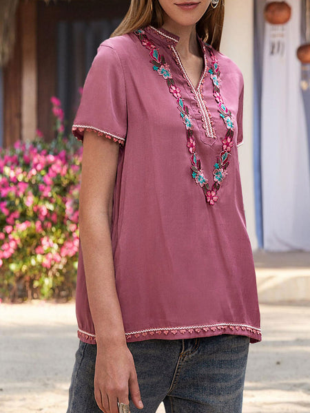Women Short Sleeve Tribal Embroidery Top