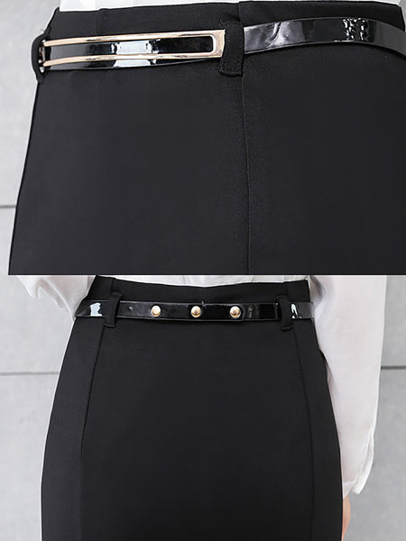 Black Casual Mermaid Paneled Solid Midi Skirt