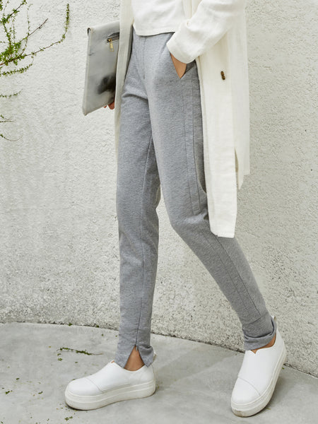 Plus Size Slit Cotton Solid Casual Straight Leg Pants