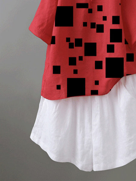 Red Cotton-Blend Short Sleeve Geometric Shirts & Tops