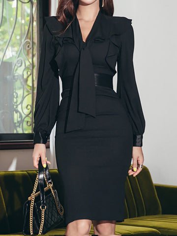 Fall High-Rise Tie-Neck Black Sheath Paneled Midi Dress