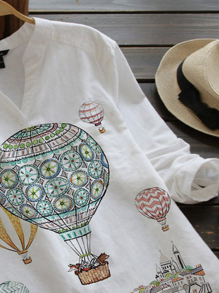 White Floral-Print Casual Cotton-Blend Shirts & Tops