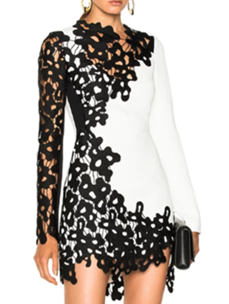 Guipure Lace Paneled Date Sexy Mini Dress