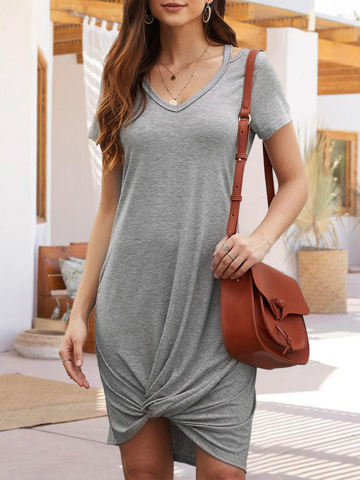 V Neck  Daily Casual Mini Dress