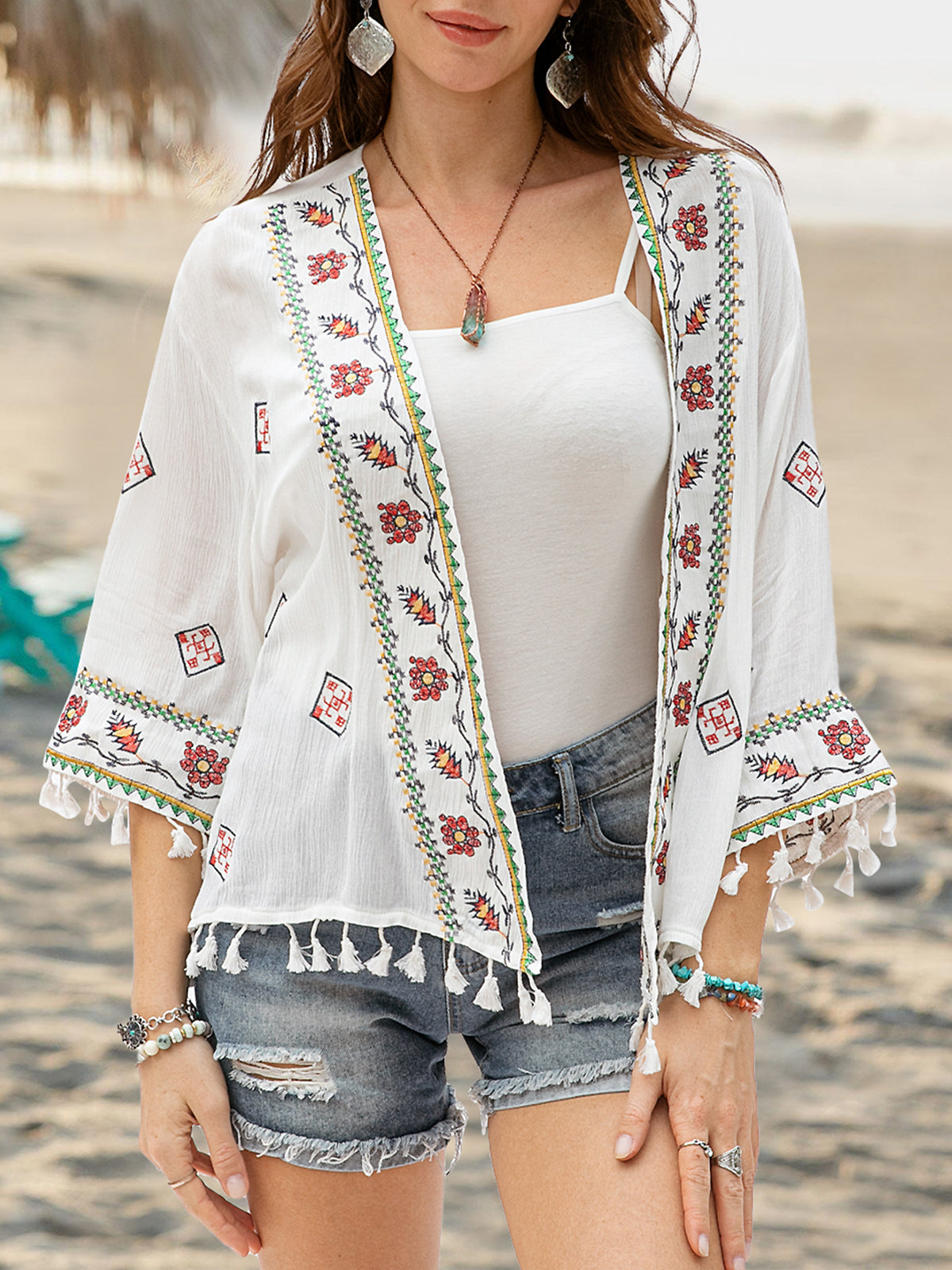 Women Chiffon Floral Embroidery Long Sleeve Cardigan