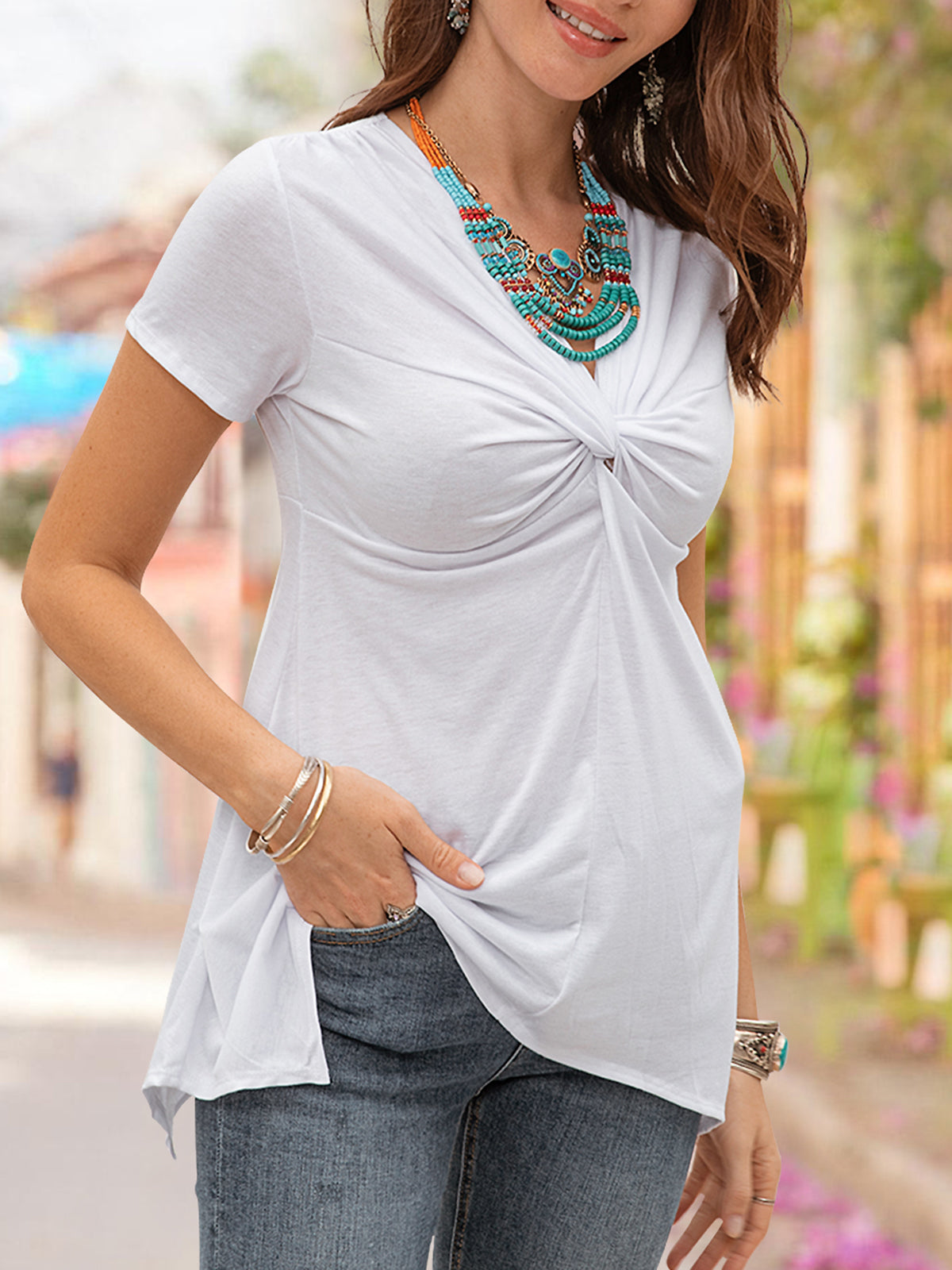 Women Plain Short Sleeve Chic Tee