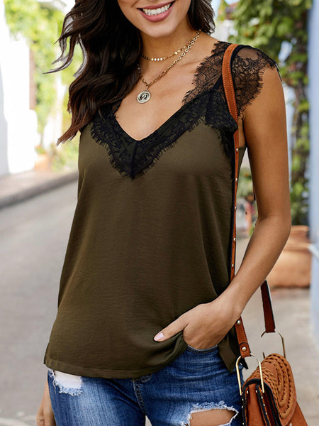 Solid Sleeveless Guipure Lace  Top