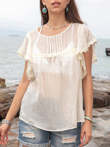 Women Cotton Daisy Fringe Holiday Pleated Top