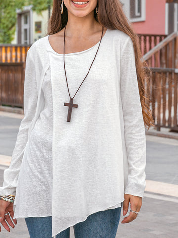 Women Casual Knitted Tiered Plain Top