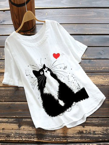 White Cartoon Casual Cotton-Blend Shirts & Tops