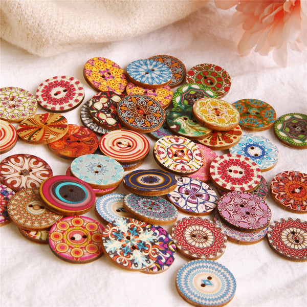 50Pcs 25mm Multi-Color Wooden Buttons Round Sewing Buttons for DIY Craft Bag Hat Clothes Decoration