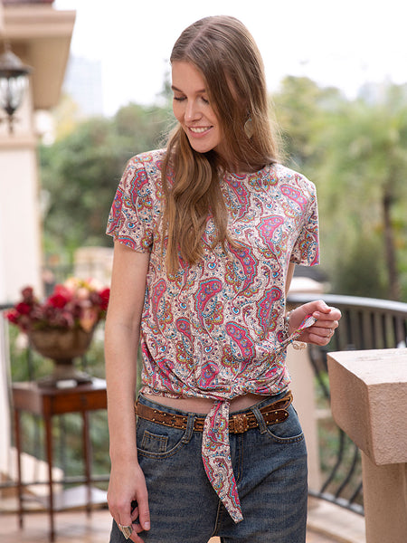 Women Cotton Abstract Tribal Short Sleeve Floral-Print Tee