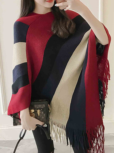 Fringed Casual Batwing Solid Scarves