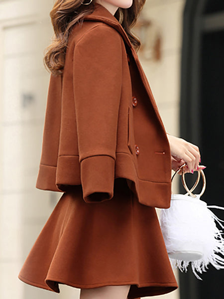 Caramel A-Line Solid Coat With Skirt Two-Piece Set