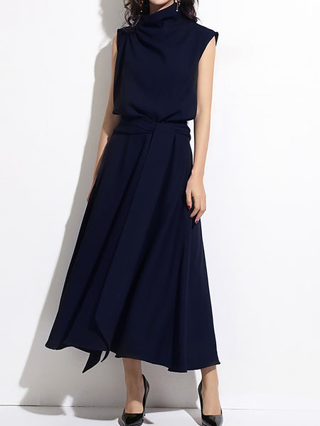 Elegant Gathered Sleeveless Turtleneck A-Line Midi Dress