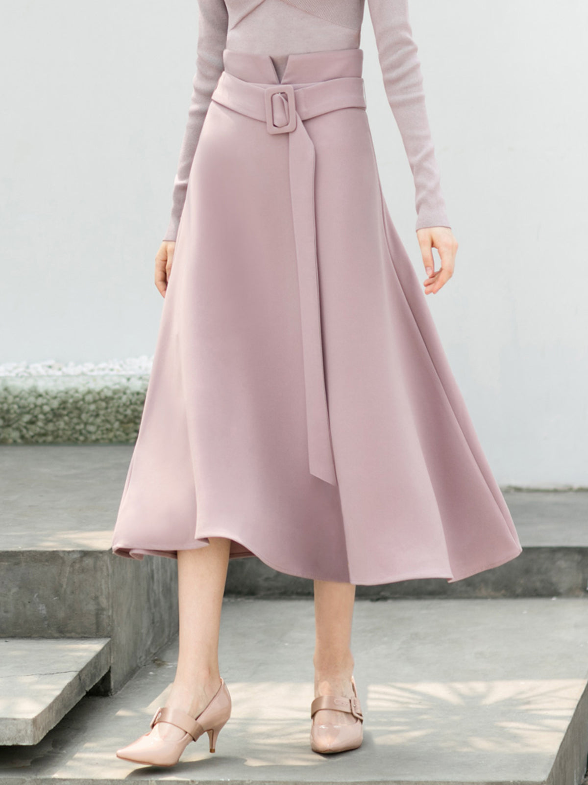A-line Casual Solid Midi Skirt