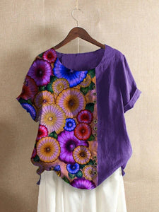 Violet Pastoral Cotton-Blend Short Sleeve Shirts & Tops