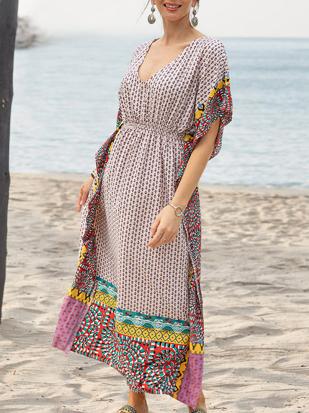 Women V Neck Geometric Printed Boho Dresses Plus Size