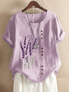 Purple Cotton Short Sleeve Shirts & Tops