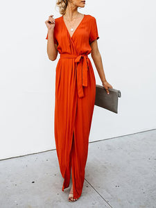 Surplice Neck   Short Sleeve Holiday Wrap Maxi Dress