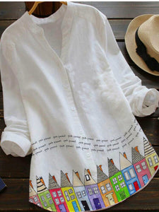 White V Neck Pastoral Cotton-Blend Shirts & Tops