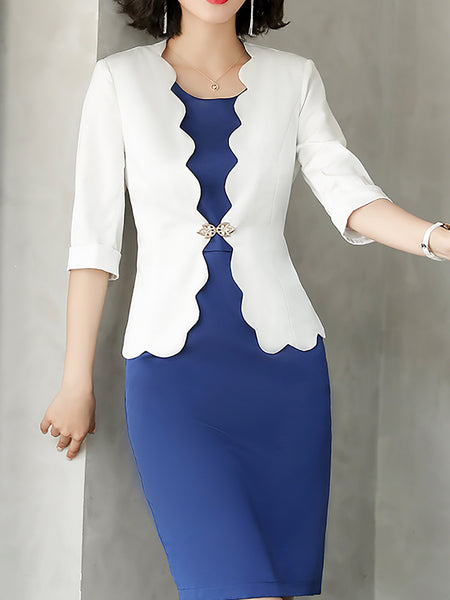 Work Sheath Dress With Coat Two-Piece Set