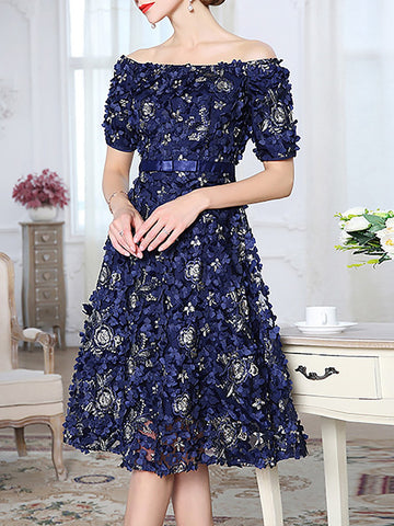 Off Shoulder Blue Dresses A-Line Date Embroidered Floral Dresses