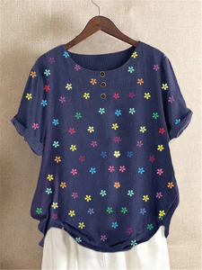 Blue Cotton-Blend Sweet Floral Shirts & Tops