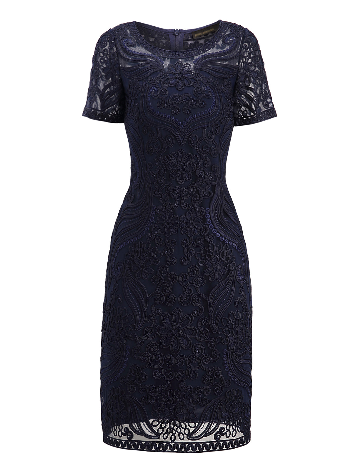 Sheath Date Work Short Sleeve Embroidered Plain Party Midi Dress