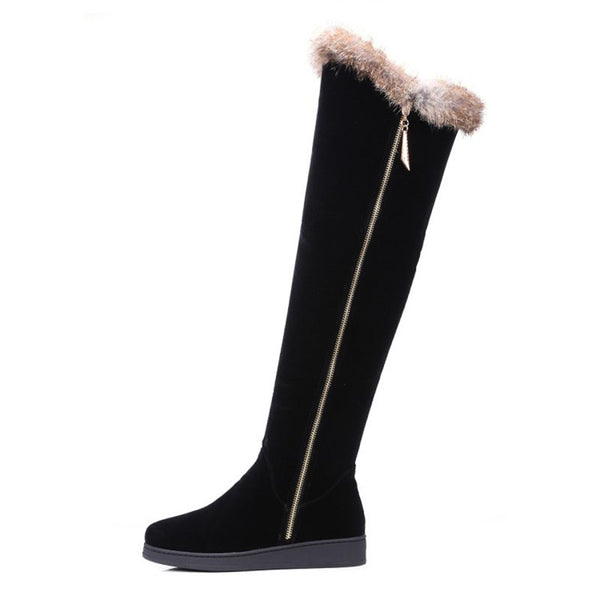 Black Round Toe Flat Heel Fur Snow Boots