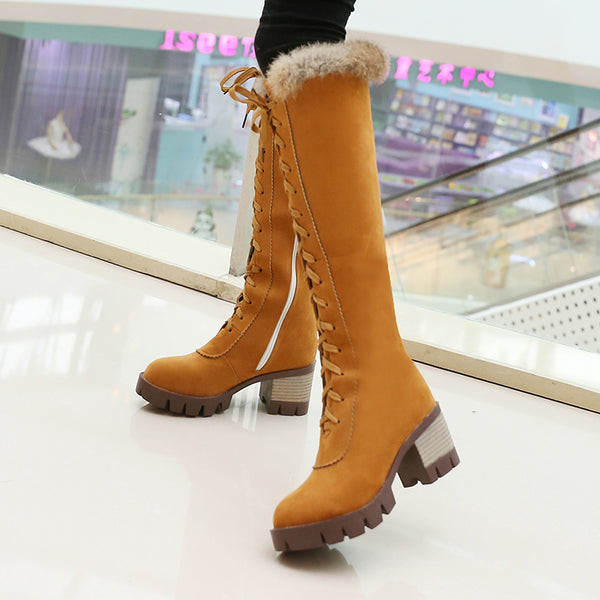 Elegant Brown Chunky Heel Suede Lace-Up Boots