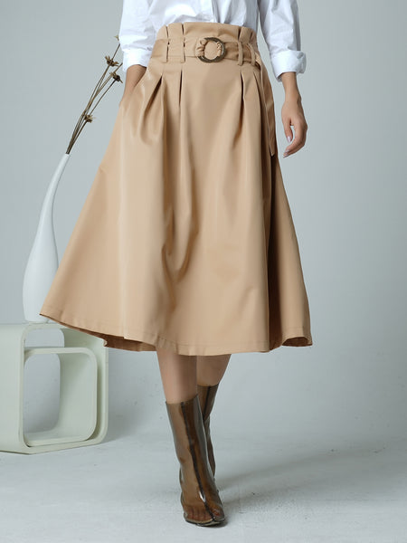 Khaki A-line Folds Elegant Midi Skirt With Belt