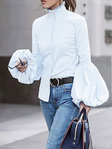 White Turtleneck Balloon Sleeve Cotton Blouse